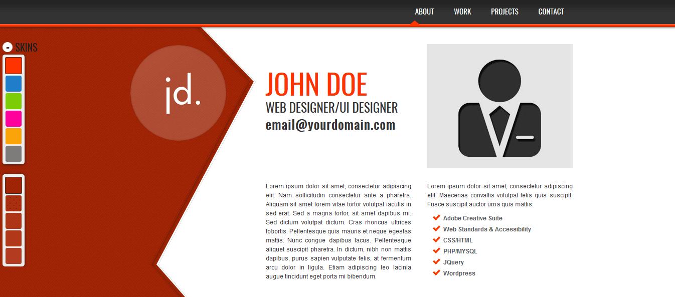قالب طراح سایت شخصی با html